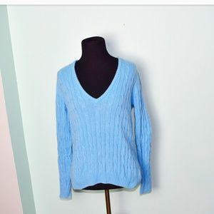 Eddie Bauer Powder Blue Cable Knit Sweater